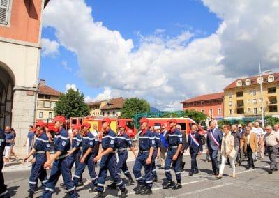 cérémonie 14 juillet Cluses - Mr Roseren Mr Mivel - sapeur pompier