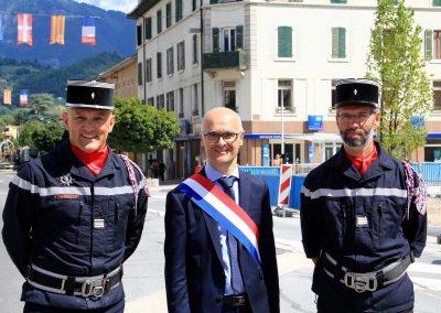 cérémonie 14 juillet Cluses - Mr Roseren - sapeur pompier