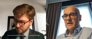 Xavier Roseren échange avec T. Allary sur le développement du ferroviaire dans nos vallées